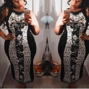 Dresses & Skirts - Black Print Dress with Stud Detail